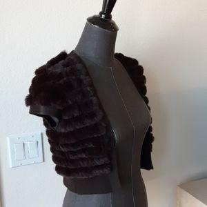 BCBGMaxAzria cropped  short sleeves fur cardigan